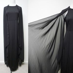 Elvira black long dress with sheer long sleeves